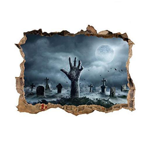 Angoter 3D Halloween-Wand-Aufkleber Scary Wand-Dekor-Geist-Hand Zerkratzen Der Wand Gebrochen Boden Abnehmbarer Hauptdekoration