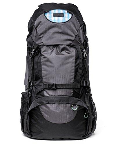 Wasserabweisend Wanderrucksack 50L für Erwachsene mit Belüftete Netzrücken | Ideal für Genussvolle Tagestouren, Camping oder Backpacking | mit Vorder-, Seiten-, Boden- und 2x Hüfttaschen | bei NES