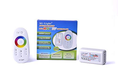 KingLed - Kit Controller Wifi per Strip RGBW composto da Telecomando con Comandi Full Touch e Ricevitore Wireless 2.4GHz da 10Amper per il controllo di Striscia Multicolore RGB+W 12V e 24V, cod. 1126
