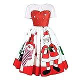 SEWORLD Weihnachtskatzen Damen Elegant Abendkleid Weihnachten Party Kleid Mesh Brautkleid Retro Weihnachtsmann Drucken Spitze Abendkleid(X3-rot,EU-34/CN-M)