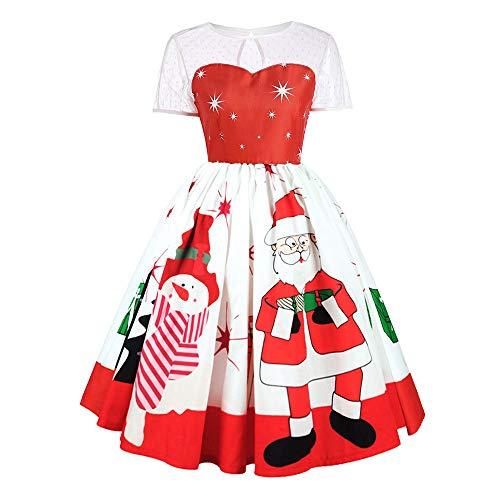 SEWORLD Weihnachtskatzen Damen Elegant Abendkleid Weihnachten Party Kleid Mesh Brautkleid Retro Weihnachtsmann Drucken Spitze ()