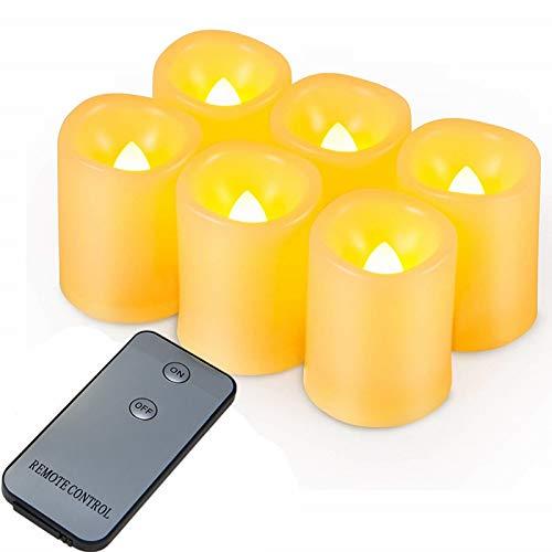 LED Kerzen, 6 LED Flammenlose Kerzen, Weihnachten LED Teelichter, Elektrische Teelichter Kerzen für Halloween, Weihnachten, Party, Bar, Hochzeit (Flicker Gelb)