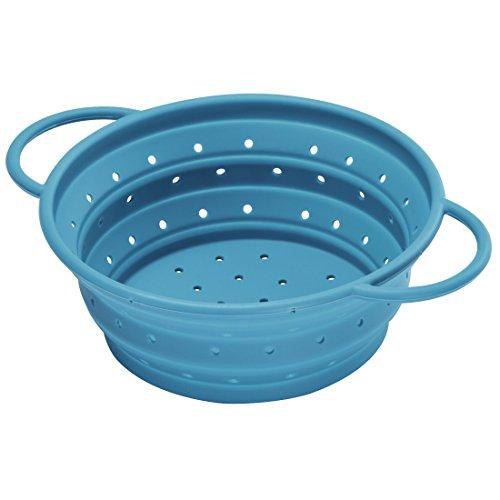 Xavax Seiher Silikon (platzsparend faltbar, 21cm Durchmesser, 1,9l) Nudelsieb blau