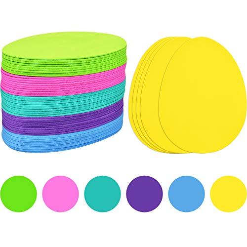 Blulu 60 pezzi schiuma di uova di pasqua fai da te schiuma a forma di uovo per bambini fatto a mano mestieri festa fornitura, 6 colori