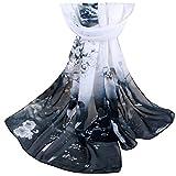 heekpek Pañuelos De Emulación Seda Mujer Mantón Bufanda Moda Señoras Playa Estolas Fular para Mujer (Negro)