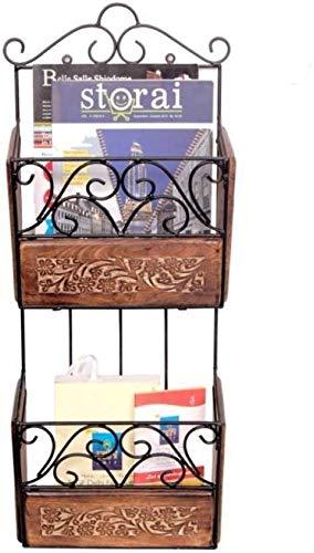 ANB Enterprises Magazine Holder Wooden, Iron Wall Shelf  Number of Shelves   2, Black, Brown