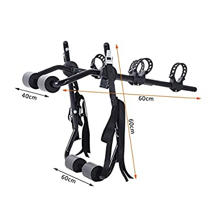 Outsunny 2 Bike Bicycle Carrier Car Back Rack Rear Mounted Universal Travel Transit - Black 2