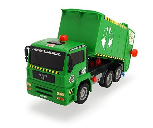 Dickie Toys 203805000 - Air Pump Garbage Truck, Müllabfuhr mit Mülltonne, 31 cm - Müllabfuhr