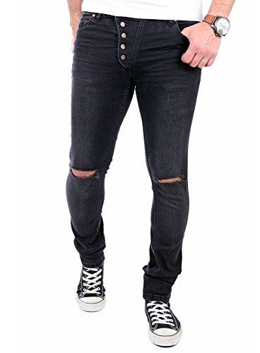 Reslad Jeans-Herren Knie Zerrissen Slim Fit Denim Destroyed Jeans-Hose RS-2067 Schwarz