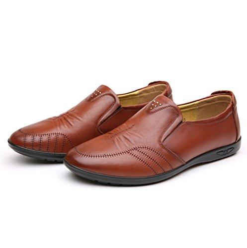 Hommes Chaussures Mocassins en Cuir Souple Cire Couture Respirent Bout Rond Basse Plat Léger Respirent Loisir Derby Brun