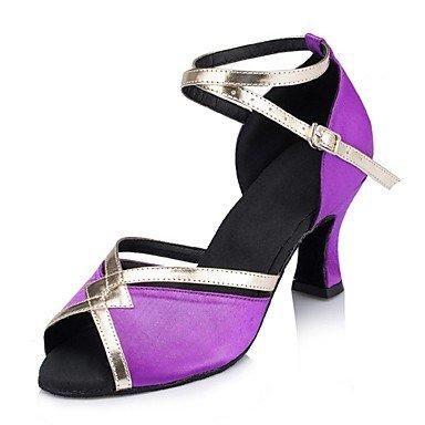 Silence @ pour femme Chaussures de danse latine en daim/cuir Talon cubain Violet/orange Violet