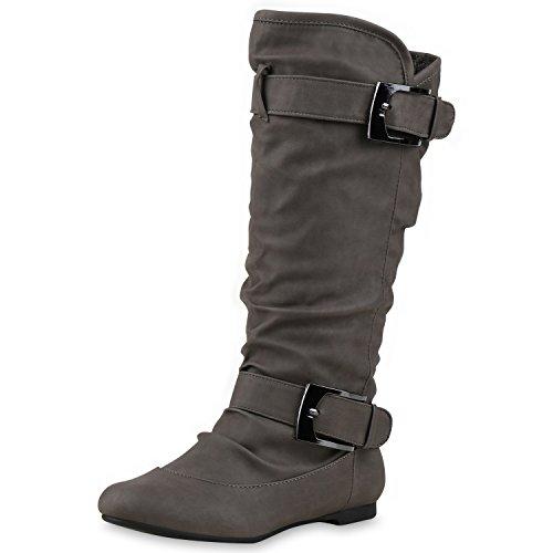 Klassische Damen Stiefel Schnallen Lederoptik Booties Grau