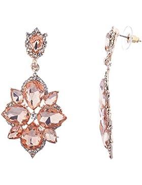 Lux Accessories Ohrringe, Kristall, Strass, Pavé-Fassung, Blumen-Motiv, rotgoldfarben