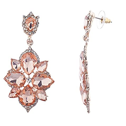 Lux Accessories Rose Gold Pave Crystal Rhinestone Flower Statement Earrings