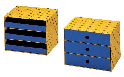 NIPS 161124257 Spot Schubladenbox A4 mit 3 Schubladen, 32 x 24.5 x 24.5 cm, mehrfarbig