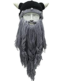 niceEshop Beard Hats, Original Barbarian pillager Knit Viking Horns Hat, Novelty Knit Caps Funny Party Hats For Men Women, Black