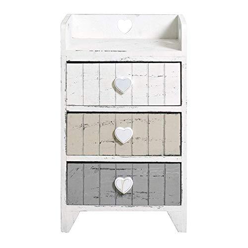 Rebecca mobili comodino 3 cassetti, cassettiera bianca grigio beige, legno paulonia, shabby, camera bagno - misure: 58 x 35 x 28 cm (hxlxp) - art. re4378