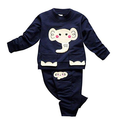 Janly Herbst Winter Kinder Baby Mädchen Junge Karikatur Pullover Tops + Hosen Outfits Kleider Set (2T, Marine)