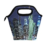 Use7 Statue Of Liberty City Night Insulated Lunch Bag Tote Bag Cooler Lunchbox for Picnic School