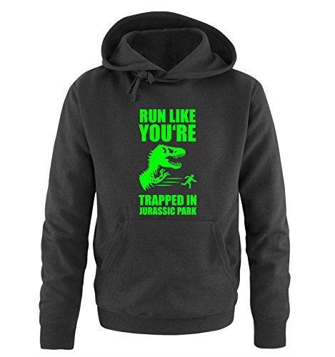 Comedy Shirts -  Felpa con cappuccio  - Maniche lunghe  - Uomo black / neon green