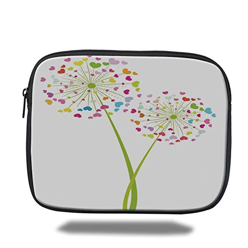 Laptop Sleeve Case,Floral,Spring Dandelion Flower with Heart Shaped Colorful Petals Romance Valentines Design,Multicolor,Tablet Bag for Ipad air 2/3/4/mini 9.7 inch - Zwei Pocket Case Top-loading