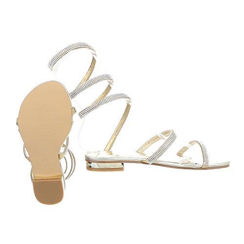 Riemchensandalen Damenschuhe Riemchensandalen Blockabsatz Riemchen Ital-Design Sandalen & Sandaletten Gold JW931
