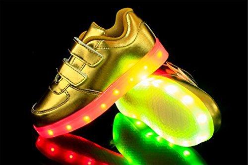 [Present:kleines Handtuch]JUNGLEST® 7 Farbe LED Leuchtend Aufladen USB Kinderschuhe Paare Schuhe Herbst und Winter Sport schuhe Freizeitschuhe Leucht lauf Golden