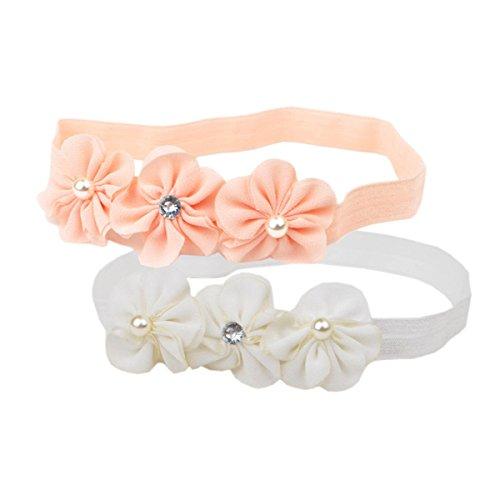 Hocaies Baby beautful flower headband Mädchen Kinder Prinzessin Stretch Stirnbänder Babygeschenke Taufe Geschenksets (01, S)
