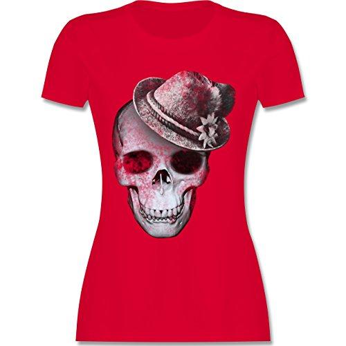 Oktoberfest Damen - Totenkopf mit Filzhut - M - Rot - L191 - Damen T-Shirt Rundhals