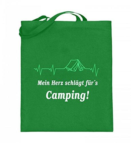 Hochwertiger Jutebeutel (mit langen Henkeln) - Camping Herzschlag Light Green