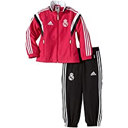 adidas Trainingsanzug Real Madrid Präsentations - Prenda, color rosa (top:blast pink f13/black/white bottom:black/white), talla de: 176