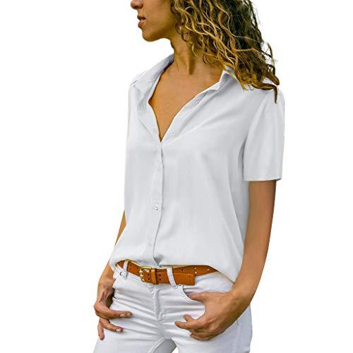 MORETIME Damen Shirt, Mode Frauen Chiffon Solide T-Shirt Büro Damen Plain Kurzarm Bluse Top 2019 Sommer Tshirt Neue (Weiß, XXXL) - Rüschen Kurzarm Bluse