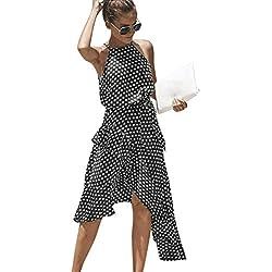 245cb801db Vestido Mujer Verano 2019 Vestido Estampado De Lunares De Gasa De Verano  para Mujer Falda Corta