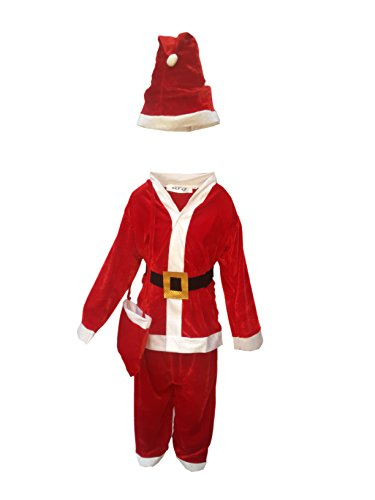 KAKU FANCY DRESSES Santa Clause Christmas Day Velvet Costume for Annual Function/Theme Party/Competition/Stage Shows/Birthday Party Dress