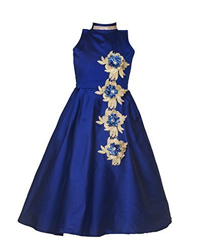Kjp Villa Fashion Vogue Blue Tapeta Silk Kids Best Qulity Party wear Frock\'s Stiched_(8 Year 9 Year Only)