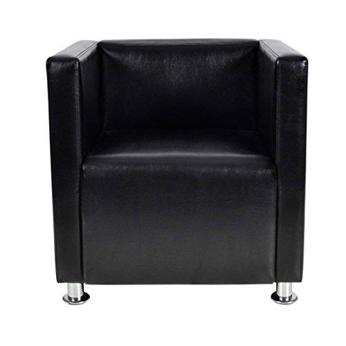 Festnight poltrona da salotto con rivestimento poltrona design/poltrone per soggiorno moderno quadrata in pelle (nero)