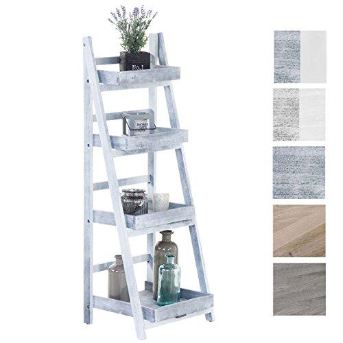 Clp scaffale a scala dorin in legno - libreria a scala 4 ripiani in stile shabby chic i scaffale decorativo in legno, pieghevole, 40 x 35 cm, alt. 110 cm i mensola espositore piante grigio