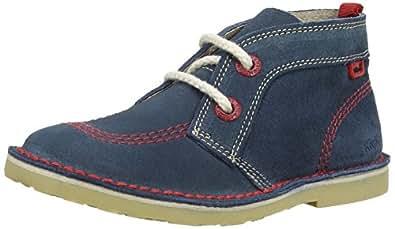 Kickers Boys Adlar Pop Suede Desert Boots 112943 Blue/Red 10 UK Child, 28 EU