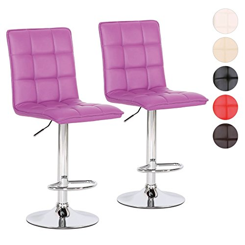 Barhocker Tresen-Stuhl Höhenverstellbar 2er Set - verchromter Stahl - Polsterung Kunstleder -...