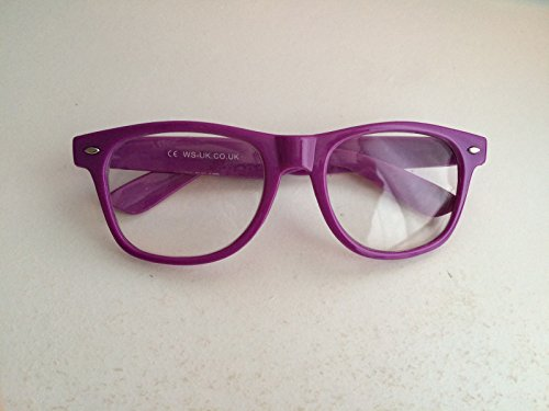 Lila Nerd Wayfarer Brille Outfit + Fliege Geek Kostüm School Girl Boy Fancy Kleid