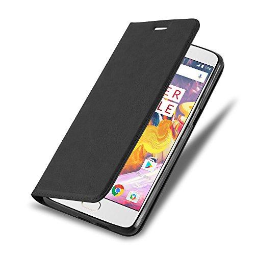 Cadorabo Hülle für OnePlus 3 / 3T - Hülle in Nacht SCHWARZ – Handyhülle mit Magnetverschluss, Standfunktion und Kartenfach - Case Cover Schutzhülle Etui Tasche Book Klapp Style