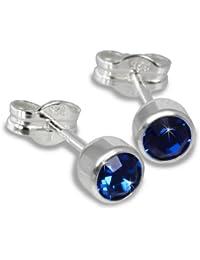 SilberDream Damen-Ohrstecker Silber mit blauem Zirkonia 925 Sterling Silber SDO503B