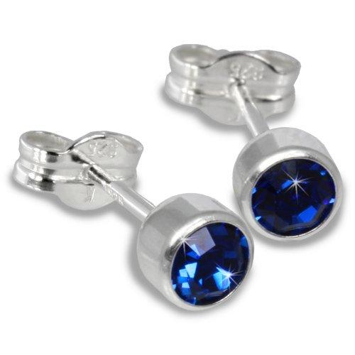 SilberDream Damen-Ohrstecker Silber mit blauem Zirkonia 925 Sterling Silber SDO503B (Ohrstecker Blau Zirkonia)