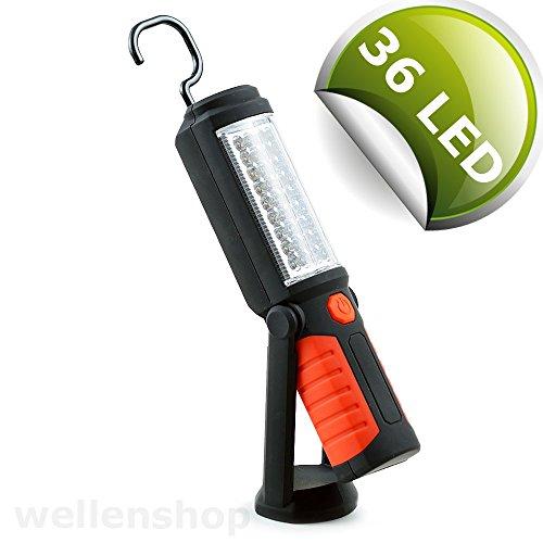 wellenshop LED Handlampe mit Batterie und Magnetfuß, Lampe Camping Zelt Arbeitsleuchte Campingleuchte Leuchte Laterne Licht