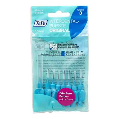 TePe Interdentalbürste Original Blau (ISO Größe 3: 0,6mm) / Für eine einfache und gründliche Reinigung der Zahnzwischenräume / 1 x 8 Interdental Bürsten