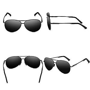 VVA Gafas de sol Hombre Polarizadas Aviador Hombres Aviador Gafas de sol Polarizadas Hombre Unisex Protección UV400 por V101 (B Negro/Gun, 2.44)