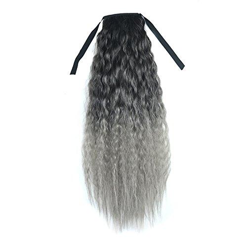 il Ponytail Extensions Haarverlängerung SSUDADY Langes lockiges perücke Farbiger Farbverlauf Clip in Extensions Echthaar Regenbogen Farbe Gerade Haarteil 60cm Schwarz dunkelgrau ()
