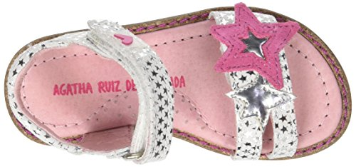 Agatha Ruiz de la Prada Strelsand, Sandales Bout Ouvert Fille Blanc (Blanco Y Estampado Estrellas)