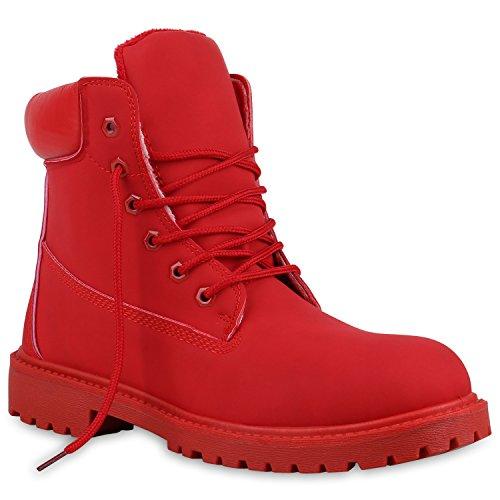 UNISEX Gefüttert Damen Herren Worker Boots Outdoor Schuhe Profil Sohle Rot