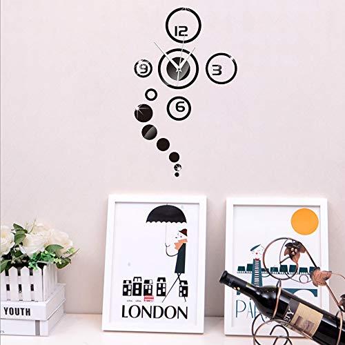 Forepin® DIY Muraux Horloge Murale Autocollants Bricolage Miroir Moderne 3D Industrielle Design pour Salon Chambre Bureau Office Maison Décoration Amovible Clock Sticker - Noir
